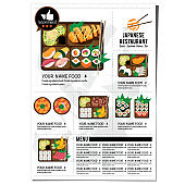 bento sushi set japanese food restaurant menu template design graphic