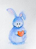 Cute bunny with heart