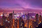 Hong Kong night skyline.