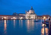 Illuminated church Santa Maria della Salute in Venice, Italy