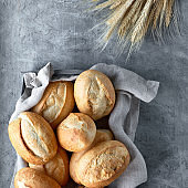 Bread buns in basket on rustic wood with wheat ears