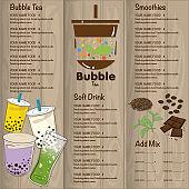 bubble tea menu graphic template