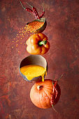 Pumpkin, pepper and lentil soup and its ingredients, balance