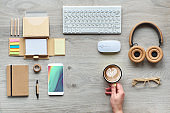 Concept flat lay with modern office supplies from eco friendly sustainable materials without single use plastic to reduce waste and organize sustainable lifestyle at work.