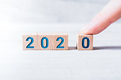 The Year 2020 Formed By Wooden Blocks And Arranged By A Male Finger On A White Table