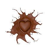 Chocolate Splash In Heart Shape.
