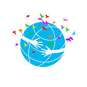 Vector illustration of earth day. Planet Earth with a hug. Earth with human hands.