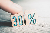 30 Percent Sale Discount Formed By Wooden Blocks And Arranged By A Female Finger On A Table