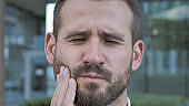 Toothache, Beard Man with Pain in Tooth