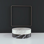 podium and abstract background.