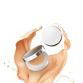compact foundation package, design element for beauty care cosmetic product.