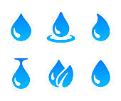 Water drop icon. Blue water droplet design