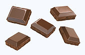 chocolate Pieces flying isolated on white background.