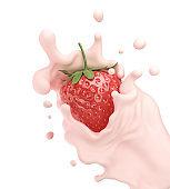 Strawberry falling into pink milk or yogurt splash.