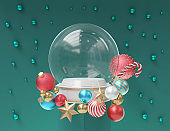 Snow Globe with Christmas decoration for template.