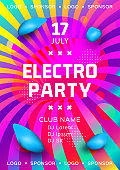 Electronic music festival poster design. Rainbow background Gradient fluid shapes. Futuristic geometric background. Glowing particles liquid dynamic. Electro party flyer. Vector illustration