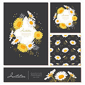 Flowers cards set Chamomile background Daisy wreath. Elegant floral cards with text space. Flowers and leaves of daisies on a dark background. Vector illustration