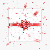 Gift bow realistic vector illustration white background. Red ribbon present box decoration. design for birthday greeting cards, christmas celebration design