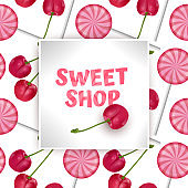 Candy Sweet shop template, greeting card with Seamless, endless background with sweets and red cherrys. Background for poster or banner, vector illustration