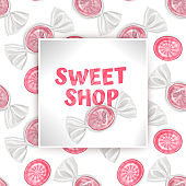 Candy Sweet shop template, greeting card with Seamless, endless background with sweets. Background for poster or banner, vector illustration