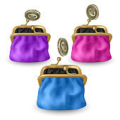 Set of opened purses of pink, blue and purple colors. Gold coins raining to open wallet. Golden coins money, euro dropping or falling in open purse.