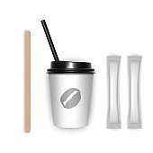 Coffee cup takeaway with cover 3d realistic mockup on white background, template for your design design vector illustration