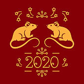 Happy New Year card 2020 year of the Rat, Christmas greeting card. Golden rats and money on a red background. Vector card