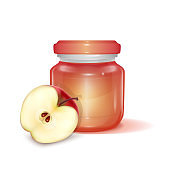 Glass jar with Apple jam on light background, Label for jam. Mockup for your brand realistic vector illustration
