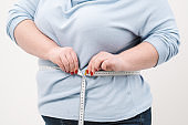 A fat woman measures her waist with a measuring tape in casual clothing on a white background.
