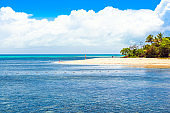 View of the seascape, Cairns, Australia. Copy space for text