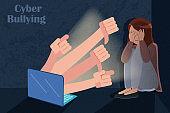 sad girl getting cyber bullying
