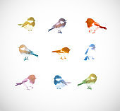 Ink wash painting of colored little birds on white background. Traditional oriental ink painting sumi-e, u-sin, go-hua.