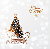 Christmas tree in vintage sleigh. Christmas greeting card.