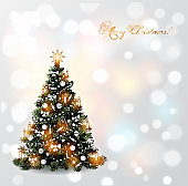 Christmas card with hand drawn sketch christmas tree on white glowing background.