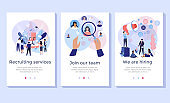 Recruitment service concept illustration set.