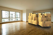 Empty Living Room with Cardboxes