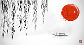 Willow tree, big red sun and little boat in water. Traditional Japanese ink wash painting sumi-e. Hieroglyph - eternity.