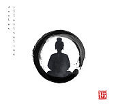 Silhouette of meditating Buddha in black enso zen circle on white background. Hieroglyph - Buddha