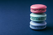 Stack of colorful macarons.