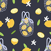 Seamless pattern with lemons, blossoms and mesh bag. Eco lifestyle.
