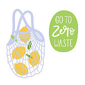 Go to zero waste. Environmentally friendly reusable shopping mesh bag with lemons. Eco lifestyle. Hand drawn vector illustration.