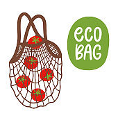 Zero waste. Mesh bag with tomatoes Eco lifestyle. Hand drawn vector illustration.