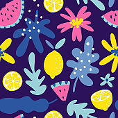 Summer fruit seamless pattern in hand drawn style. Vector fabric design with lemons, watermelons, leaves and flowers.