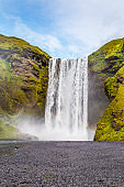 A view of Skogafoss. one of most beautiful waterfalls in Iceland