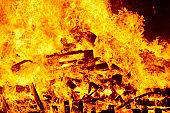 Fire flames on a bonfire. Fireman emergency. Danger combustion