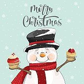 Merry Christmas greeting with Snowman and sweets Vector illustration.  Winter holiday card with calligraphic and hand-drawn design elements.