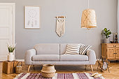 Stylish and design home interior of living room with gray sofa, wooden cube, commode, pillow, macrame, rattan lamp, basket, plants and elegant accessories. Stylish home decor. Template. Mock up poster