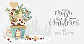 The greeting Merry Christmas with the festive Cup, branches and sweets. Vector illustration.  Winter holiday card with  calligraphic and hand-drawn design elements.