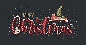 Happy Christmas greeting card with handwritten calligraphy and hand-drawn decorative elements and animals.