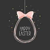 Happy Easter card with handwritten phrase. Easter elements. Calligraphy.